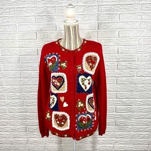 Vtg Heirloom Collectibles Heart & Floral Cardigan